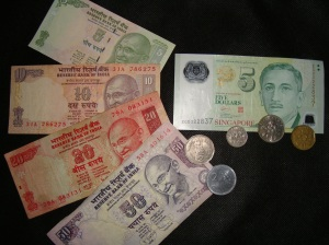 Rupees and Singaporean Dollars